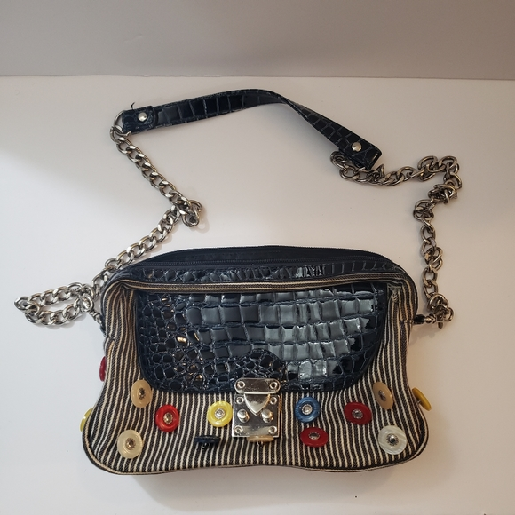 Ins Vintage Style Chain Strap Crossbody Shoulder Bag Striped With Buttons Blue